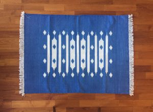 FLOOR RUG INDIGO DHURRIES