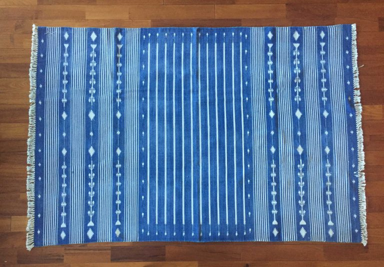 FLOOR RUG INDIGO DHURRIES – SOLD OUT