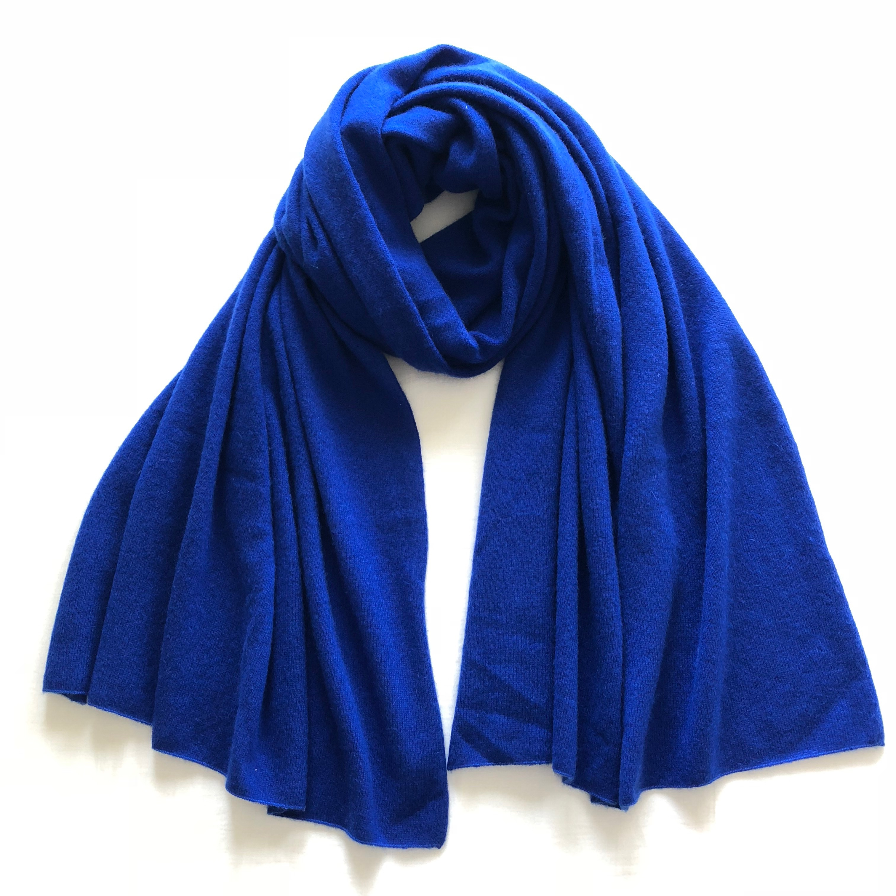 CASHMERE KNIT STOLE ROYAL BLUE