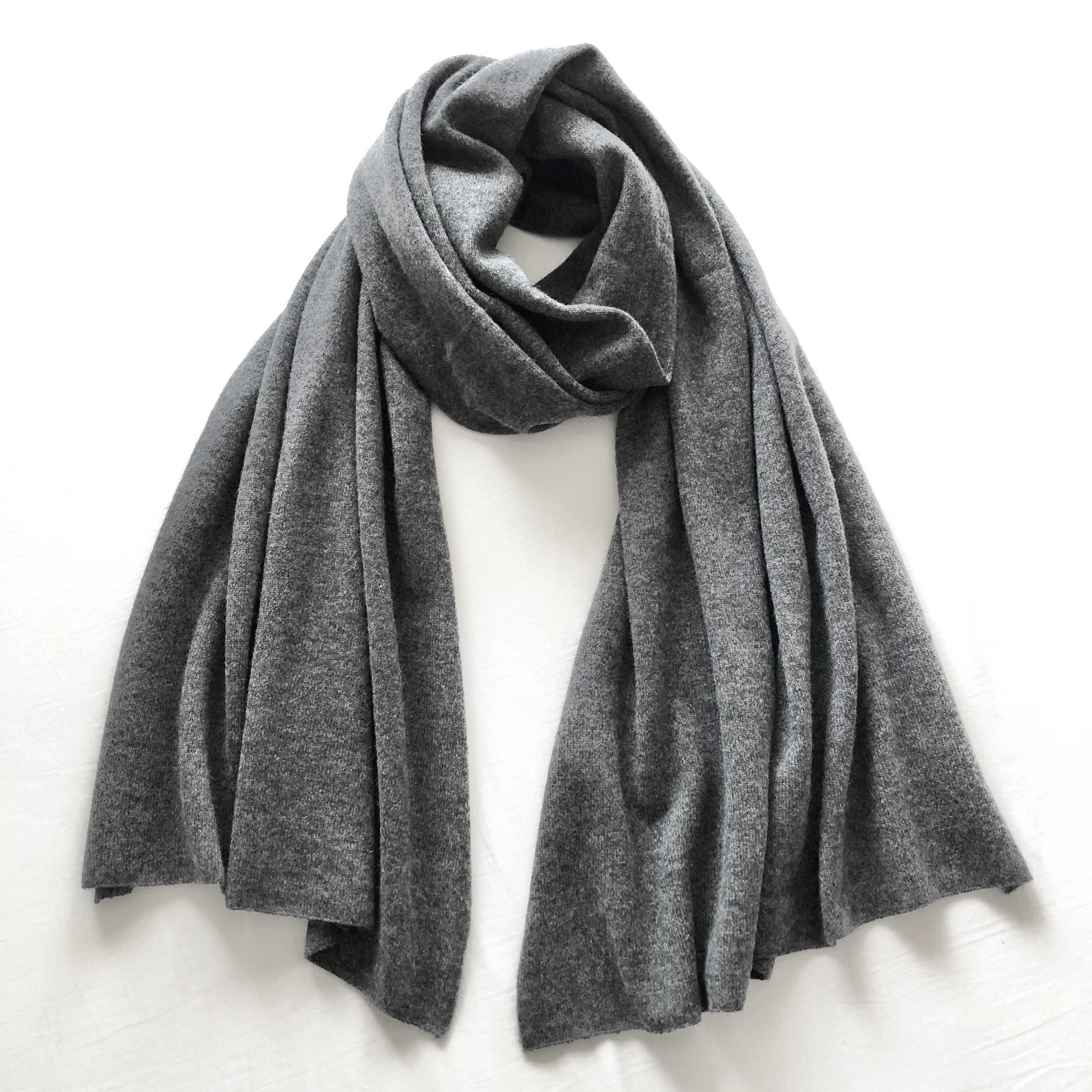 CASHMERE KNIT STOLE CHARCOAL GREY